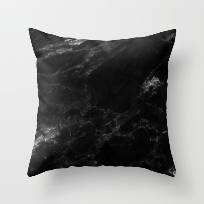 BLACK MARBLE Throw Pillow on Society6.com