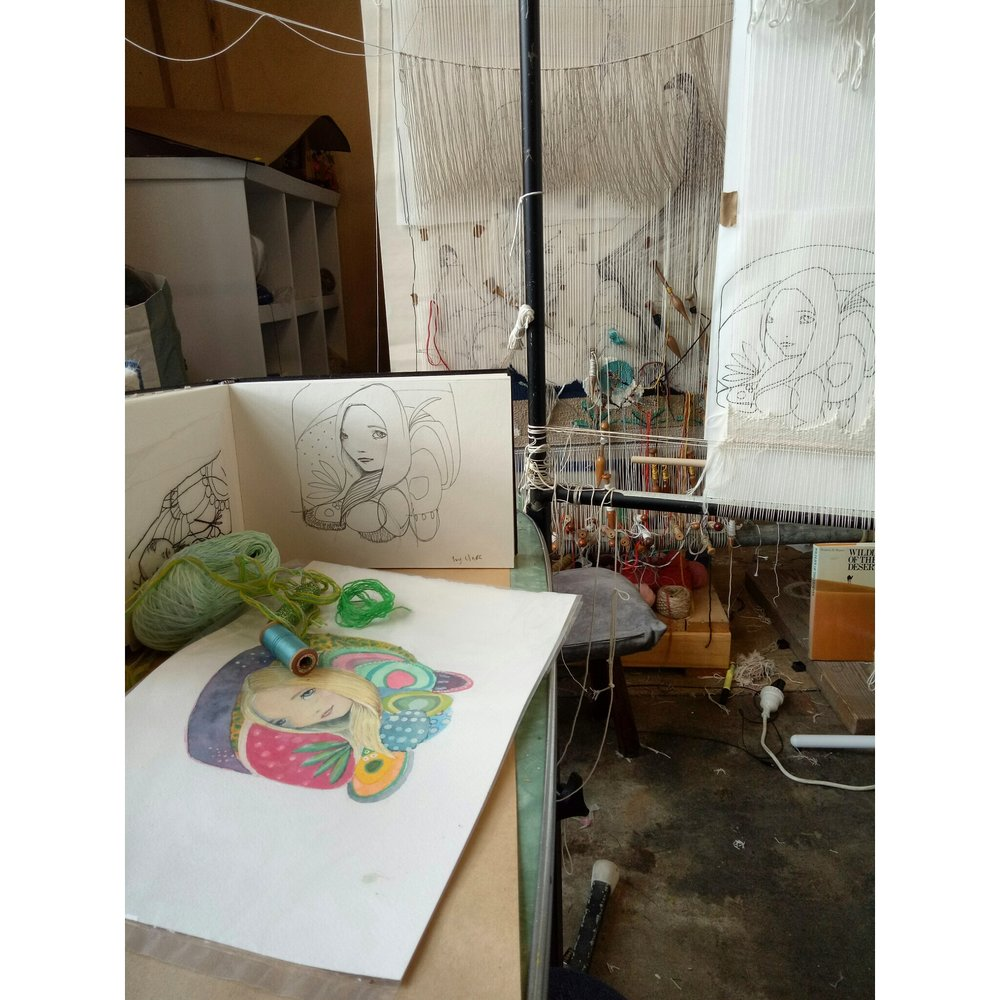 here you can see my original drawing, a finished watercolour, and the beginning of my recent tapestry.