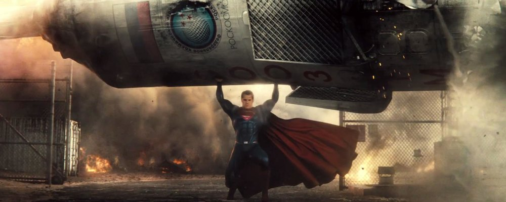 Superman lifting heavy things.