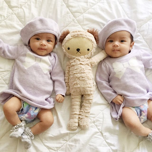 Happy three months Cali and Izzy!  #twins #janieandjack @janieandjack