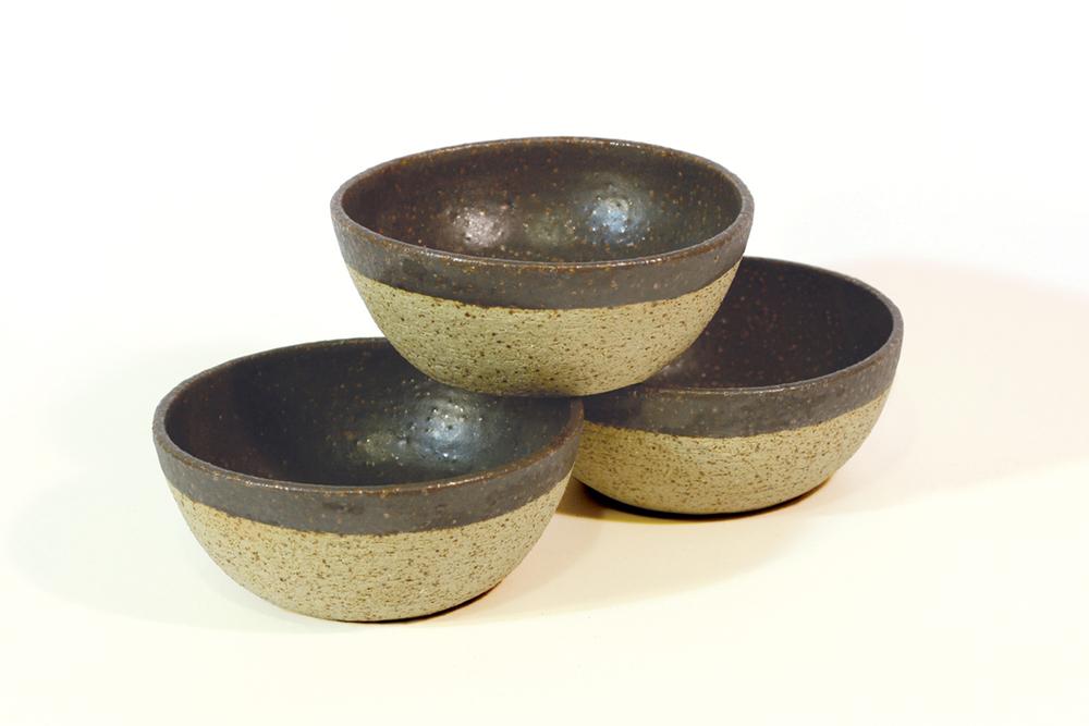 Raku bowls with matt black glaze