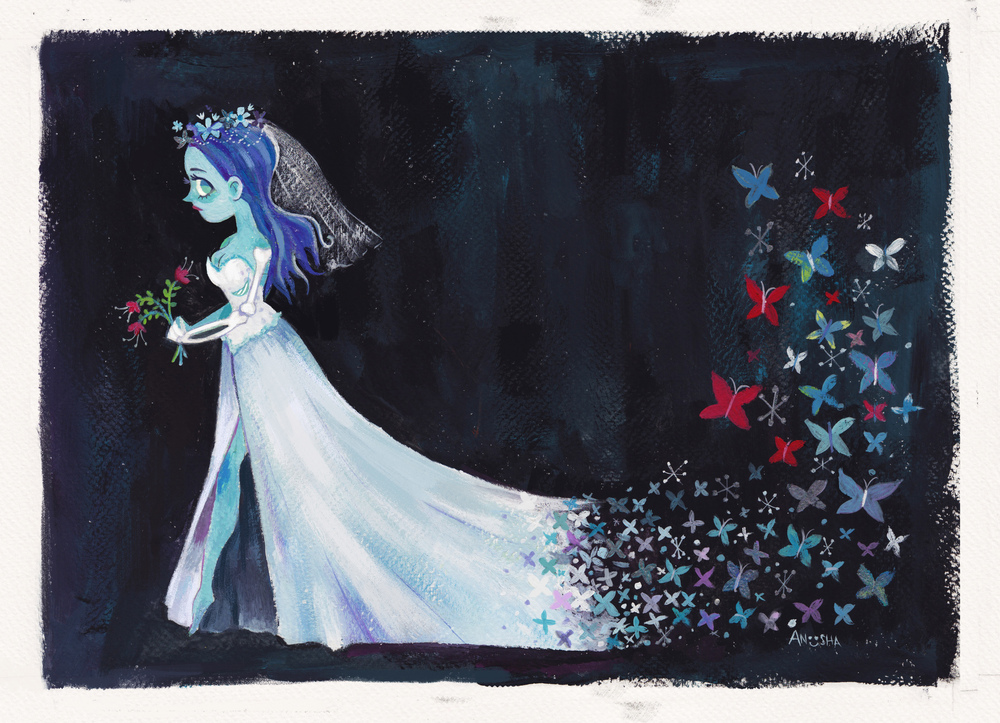 Gouache painting of the Corpse Bride , done for a Tim Burton tribute show at the Gladstone Gallery. (Toronto, Canada). 2016