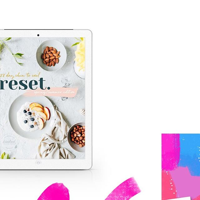 Just launched 💕 eBook design for talented skin angels Nat and Lily @kindred.toxinfreefacials to accompany their 28 day skin to soul spring/summer reset program. A mix of the most beautiful organic facials and nutrition makes for many happy faces 😊😊😊 #raspberrystripesdesigns #kindredtoxinfreefacials #28dayreset #graphicdesign #ebookdesign #pdfdesign #brisbanedesigner