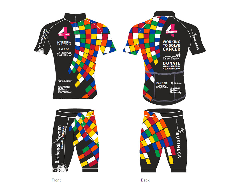 The 4Challenge cycling kit, complete with BirchenallHowden sponsorship