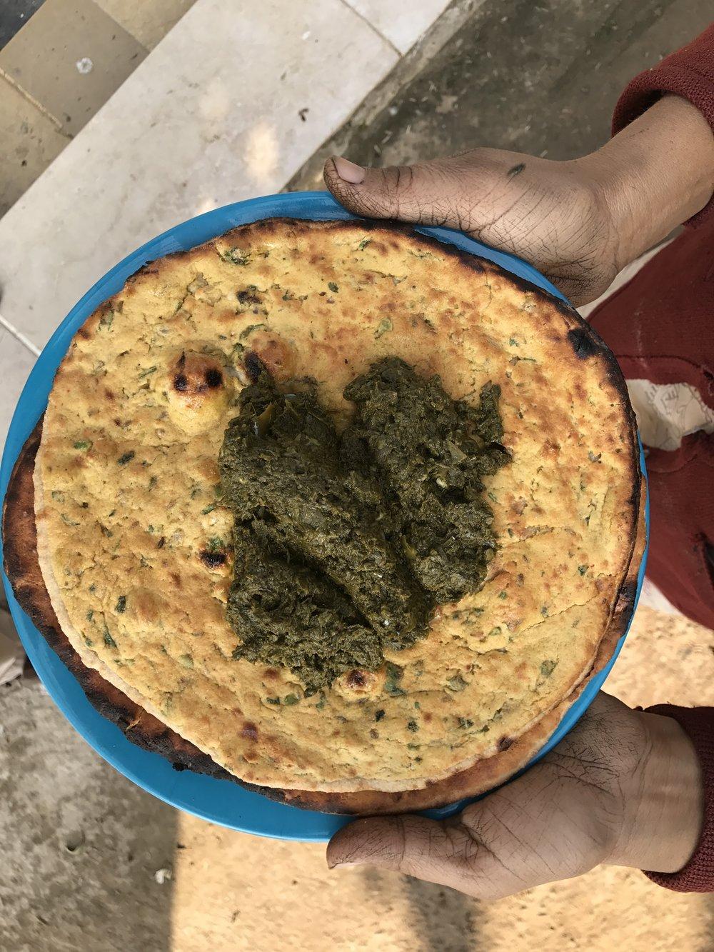 Khud EdTech Lahore Pakistan - Farm to Table - Sarson ka Saag Mikai Ki Roti - Mustard Desi Corn Bread.JPG