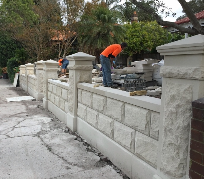 Pure white rockfaced fence pillar capping profiled pyramid (1).jpg
