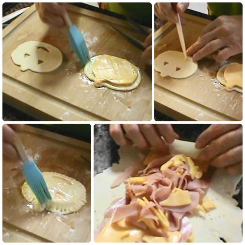 Con los recortes de masa sobrantes lo estirais y rellenais con los sobrantes de jamón y queso hacer como unaNapolitana y cortais un poco los laterales para que quede mejor lo pintais comounahuevo al horno.