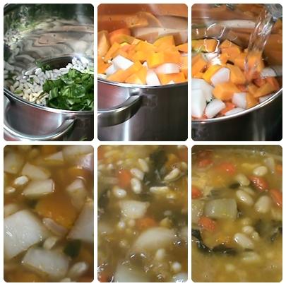 Aquí podeis ver como poco a poco se hidrata y se cuece todo, la verdura se deshace un poco y engorda el caldo.