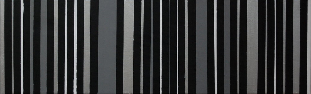 black, silver, gray, white, mixed medium on canvas, 40''x12'', 2015.jpg