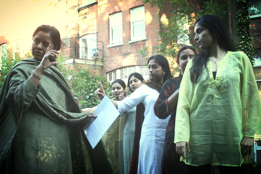 Sangeeta Datta directing dancers during rehearsals for Gitanjali.