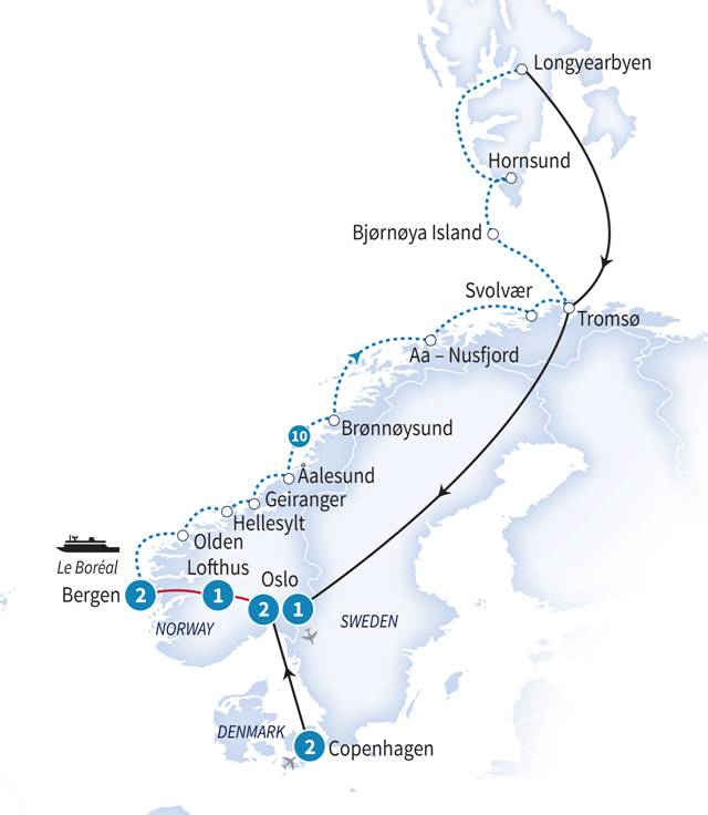 Scandinavian Cruise Route.