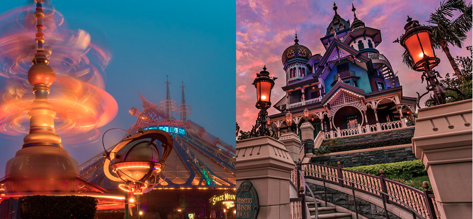 Left; Disneyland Paris . Right; Hong Kong Disneyland (photos: flickr.com/tombricker)