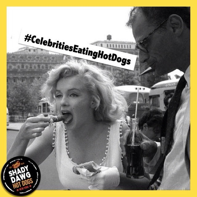 #MarilynMonroe downing a Dawg! (We question her choice to separate the Dawg from its Bun...😯) #CelebritiesEatingHotDogs
