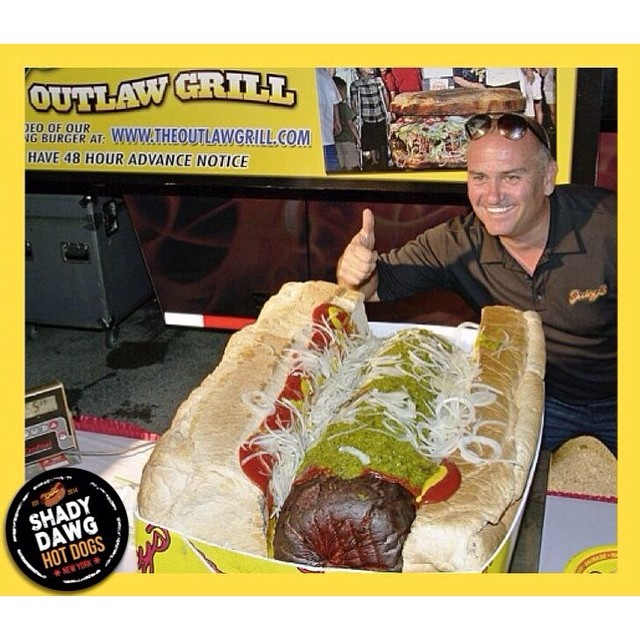 The largest hot dog in the world weighs in at a whopping 125.5 lbs! It's made by Juicy's Outlaw Grill. Hungry?