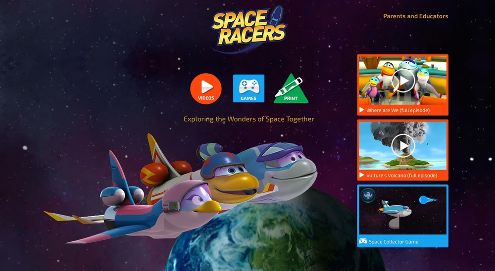 SpaceRacers.org website with its ultra-modern HTML5 architecture is the first fully responsive website for an educational childrens' television show in the United States.