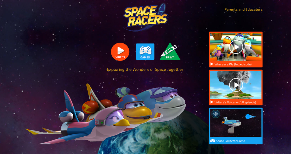 Mobile-First, Kid-Friendly SpaceRacers.org, a science-based, space-themed website for preschool kids is optimized for any device.  View website