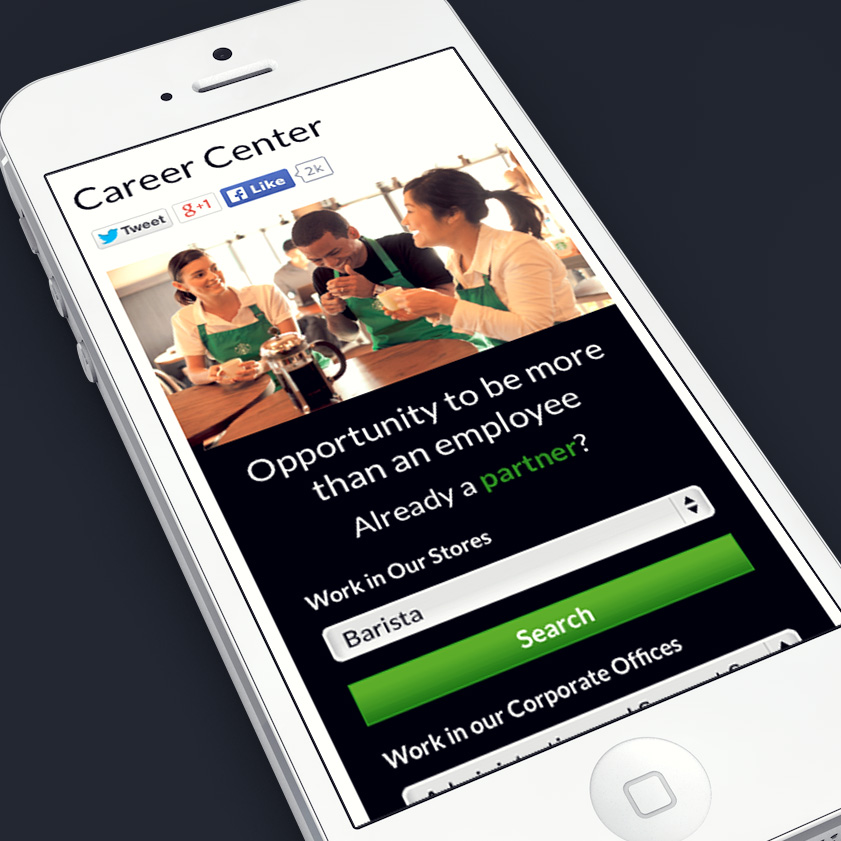 Starbucks responsive careers recruitment website.