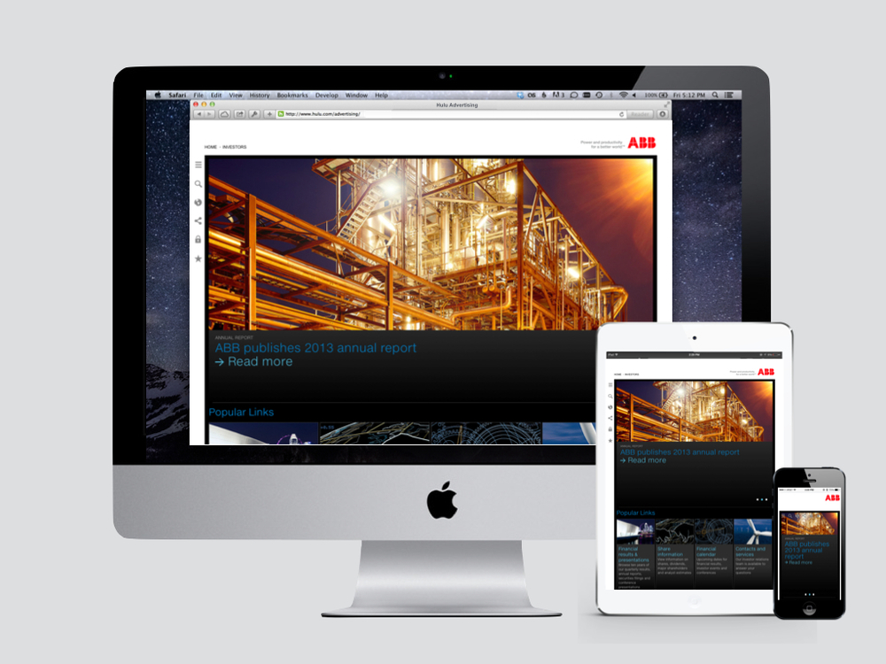ABB responsive investor relations website.  An industry leader in design and usability.