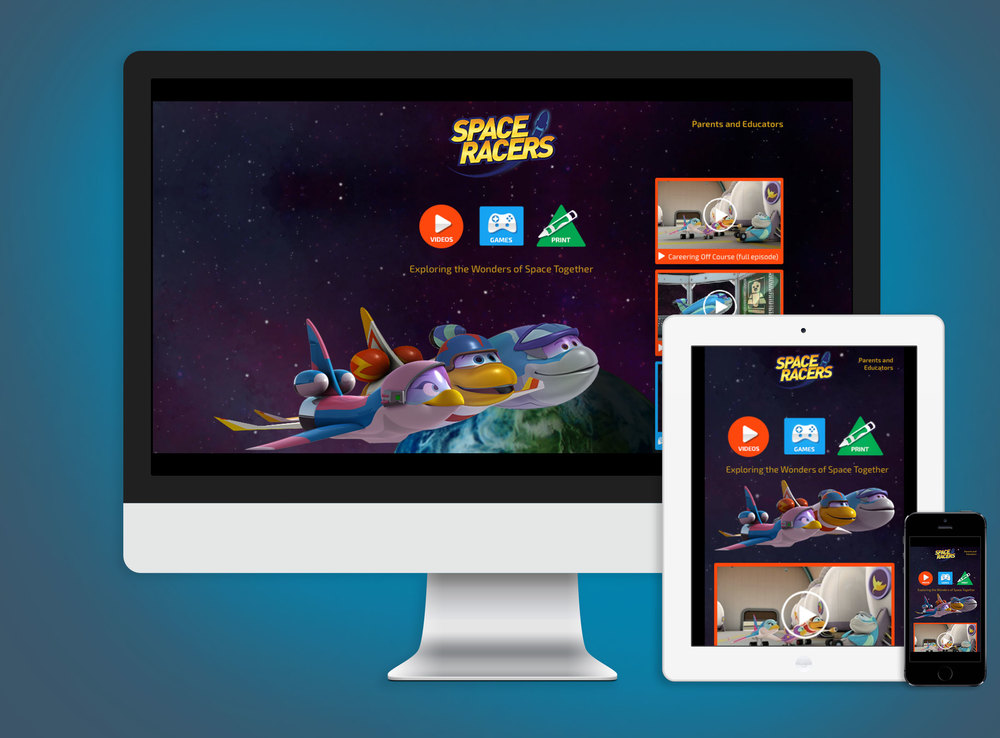 Example from SpaceRacers.org, kid-friendly website that launched in spring 2014.
