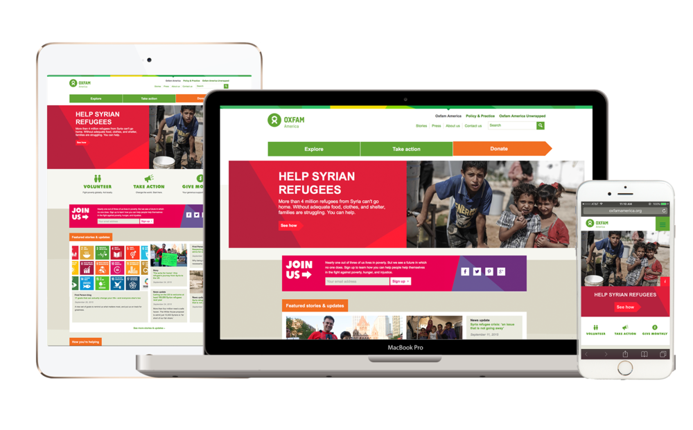 An example of a responsive nonprofit website design. Responsive sites automatically adjust to provide optimum user experiences to site visitors on different devices with different screen sizes.