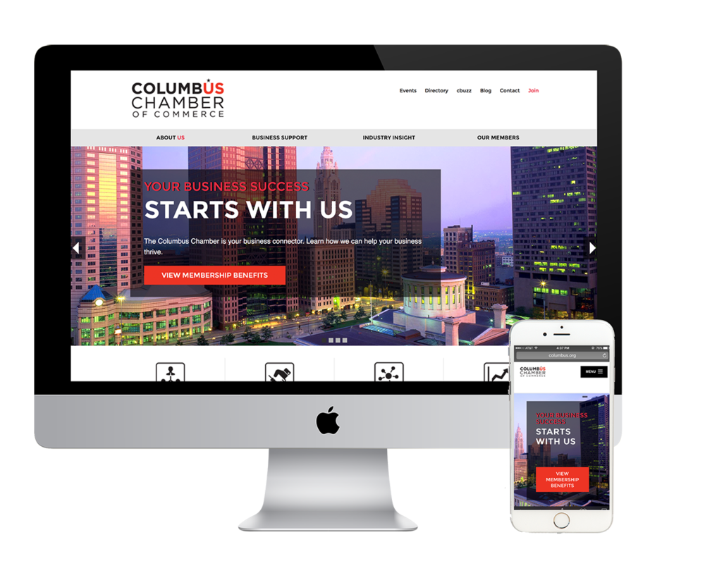 The Columbus Chamber of Commerce features a clean, easy-to-navigate header section.