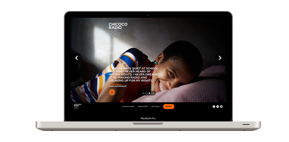 Chicoco Radio is a great example of a cutting-edge nonprofit website design.