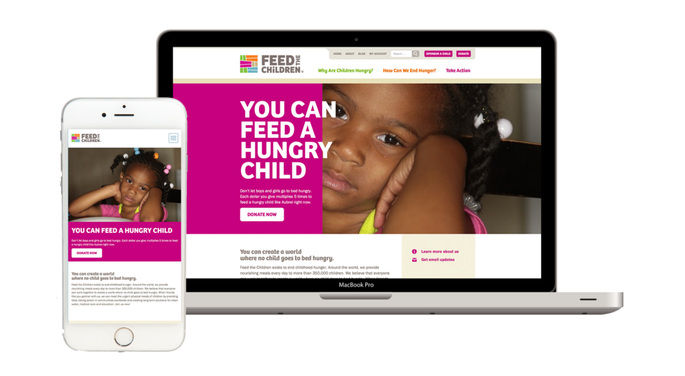 Feed the Children makes effective use of prominent calls-to-action, with its primary call-to-action (Donate Now) placed front and center in the marquee section of the homepage.