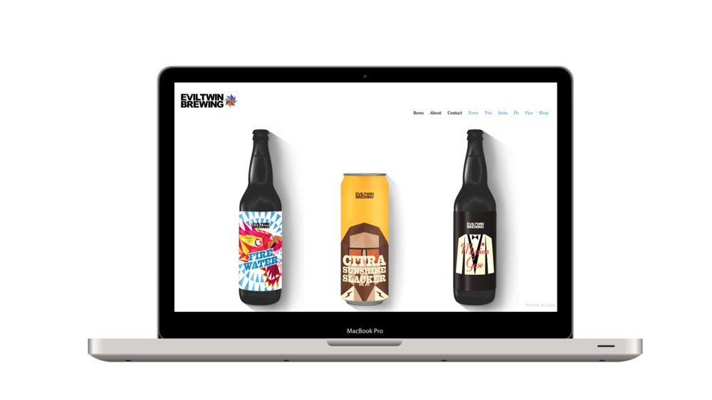 Evil Twin Brewing's contemporary, minimalist aesthetic is achieved by implementing flat design elements in both their physical packaging and digital properties.