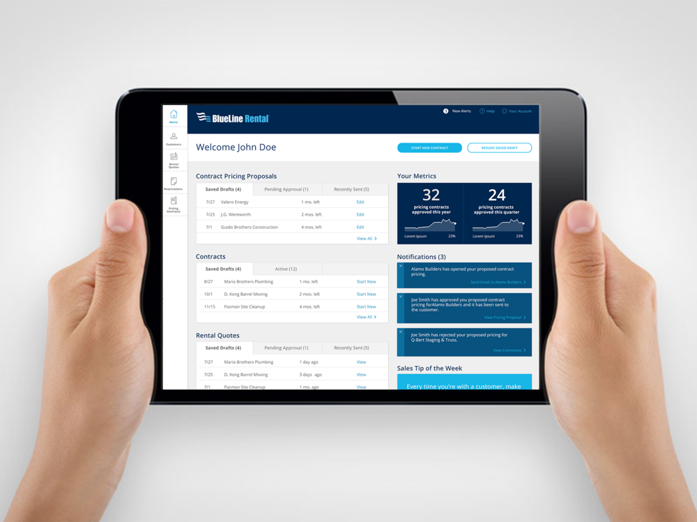 BlueLine Rental streamlines the customer quote process by equipping its sales reps with a custom mobile solution that makes them more responsive, informed, and efficient.