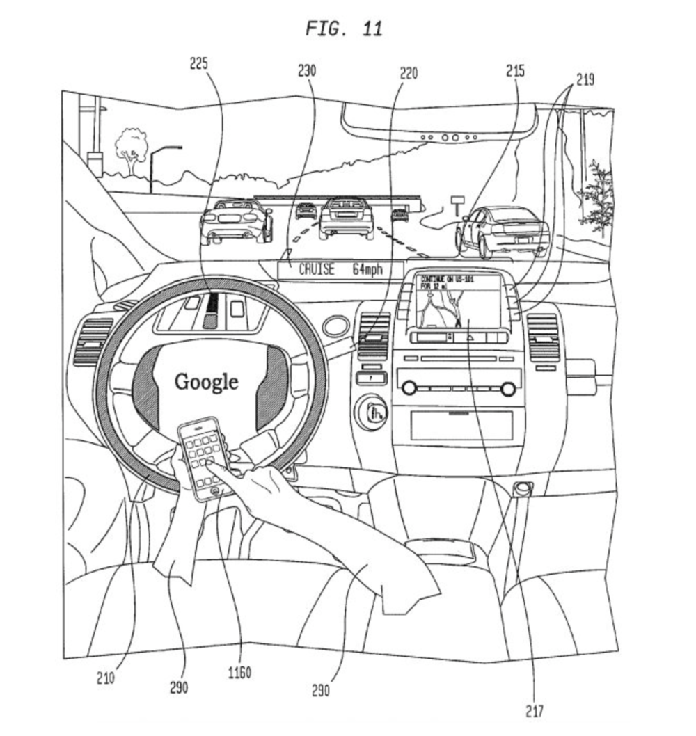 An illustration from one of Google's self-driving car patents.