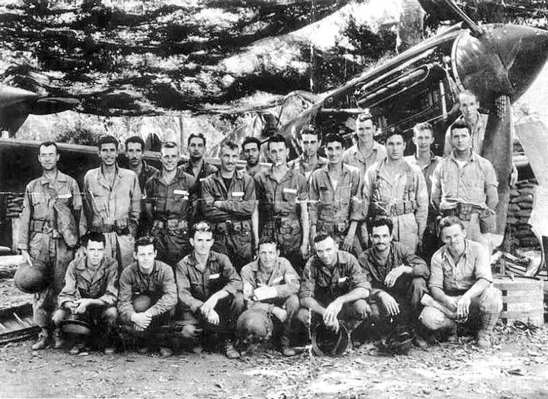 One of the plane crews from Headquarters Squadron, 24th Pursuit Group and 17th Pursuit Squadron in January 1945