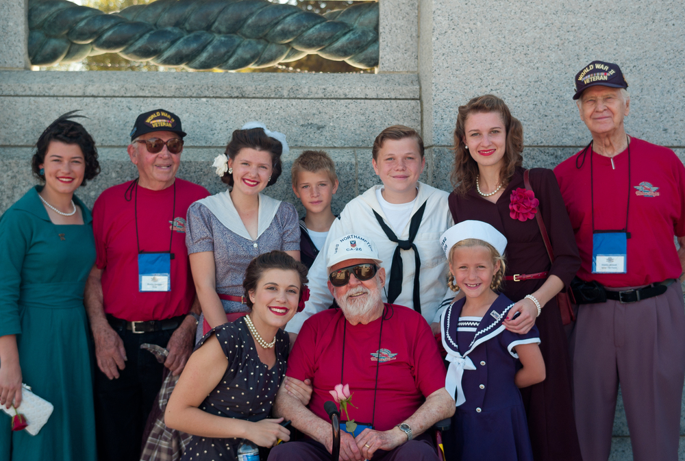 Mr. Zemont, far right standing. At the WWII Memorial for his Honor Flight