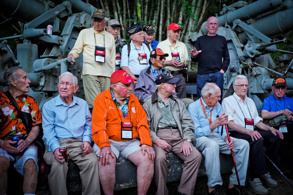 Most of the Iwo Jima veterans gathered for interviews from David Webb (David Webb Show)