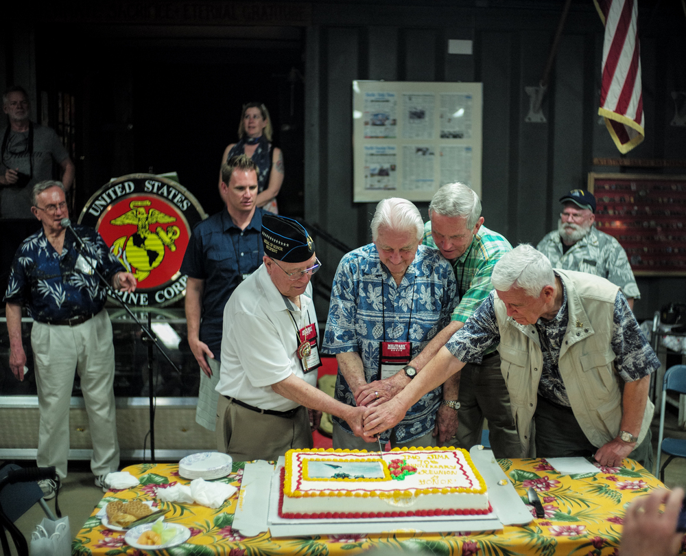 All three Generals and Iwo Jima MOH recipient, Woody Williams, cut the anniversary cake