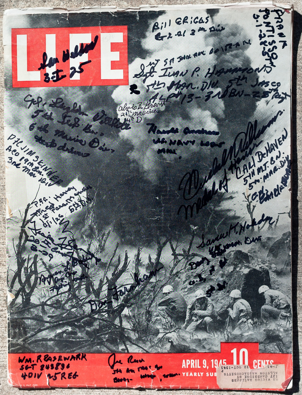 LIFE Magazine from 1945 with signatures of all the Iwo vets. The cover photo is a blockhouse on Iwo Jima being blown up.