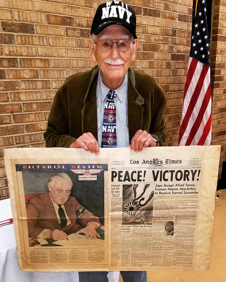 Mr. H, a veteran of the Pacific Theatre, brought these newspapers to the luncheon. His mother had collected and saved these for him while he was away at war, and he only uncovered them last year. The paper on the left is dated March 1942, and the one on the right is VJ Day, 1945 - both historic dates.
