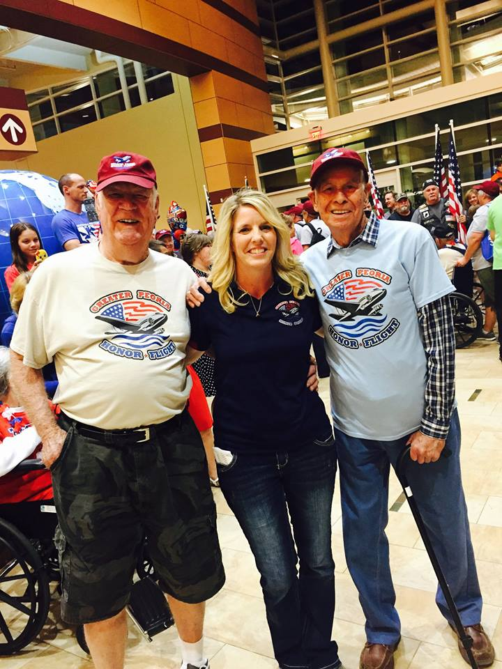 Phyllis Piraino and two of GPHF's very wonderful veterans. PC: Greater Peoria Honor Flight.