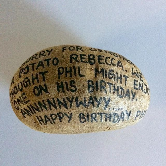 """Sorry for sending a potato Rebecca. We thought Phil might enjoy one on his birthday. Annnnnywayys.....Happy Birthday Phil!"" 🥔🥔🥔 #boss #birthdaypotato #potato #work #shenanigans #workshenanigans #mail #birthday #birthdaymail #mailingpotatoes"