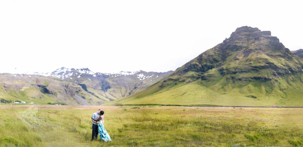 Shot in Iceland. Tiny people big landscape.