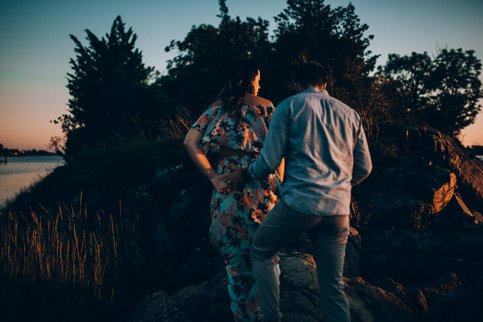 Sunset golden hour engagement photo
