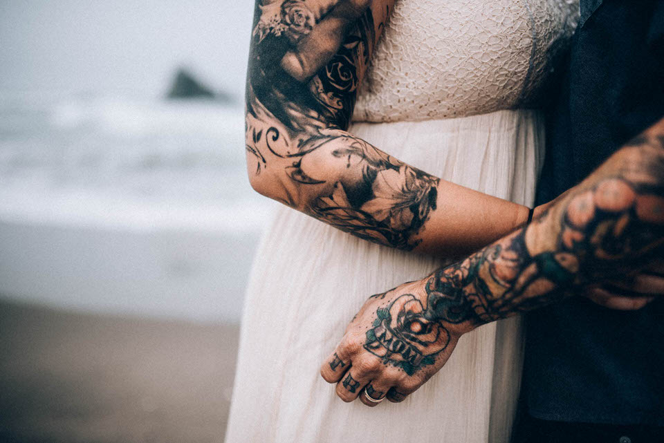 Tattooed hands Sutro baths couples photos