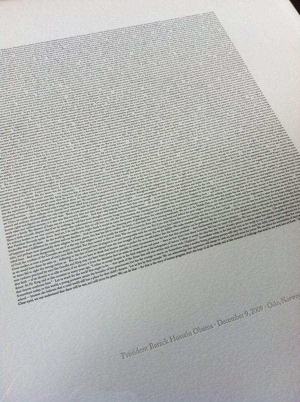 Obama Nobel speech print