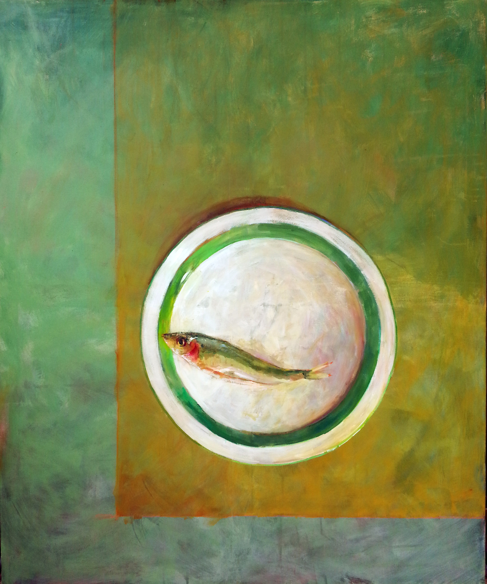 Sardine on a white plate with green band