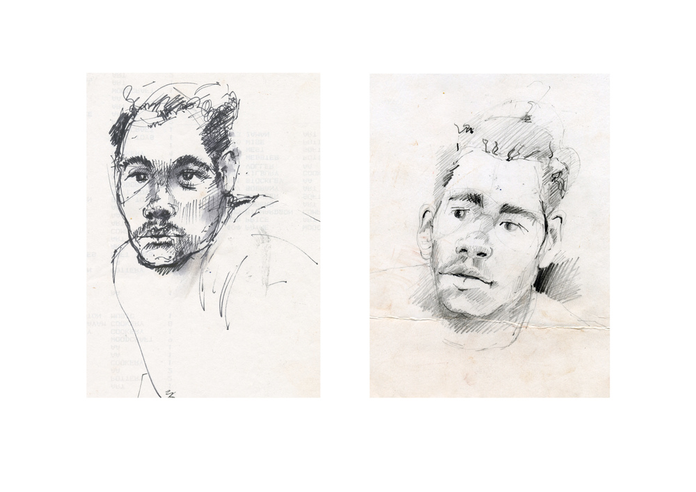 Portrait sketches of Roy, inmate at HM Dover Borstal