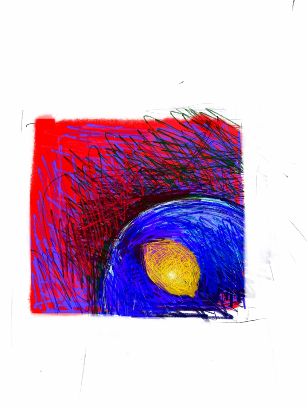 Lemon, blue bowl and red lacquer tray      digital sketch
