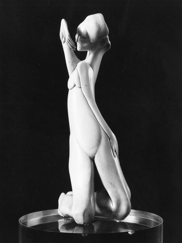 The Lady (Kneeling Woman) - Bone Sculpture by Jerry Hardin