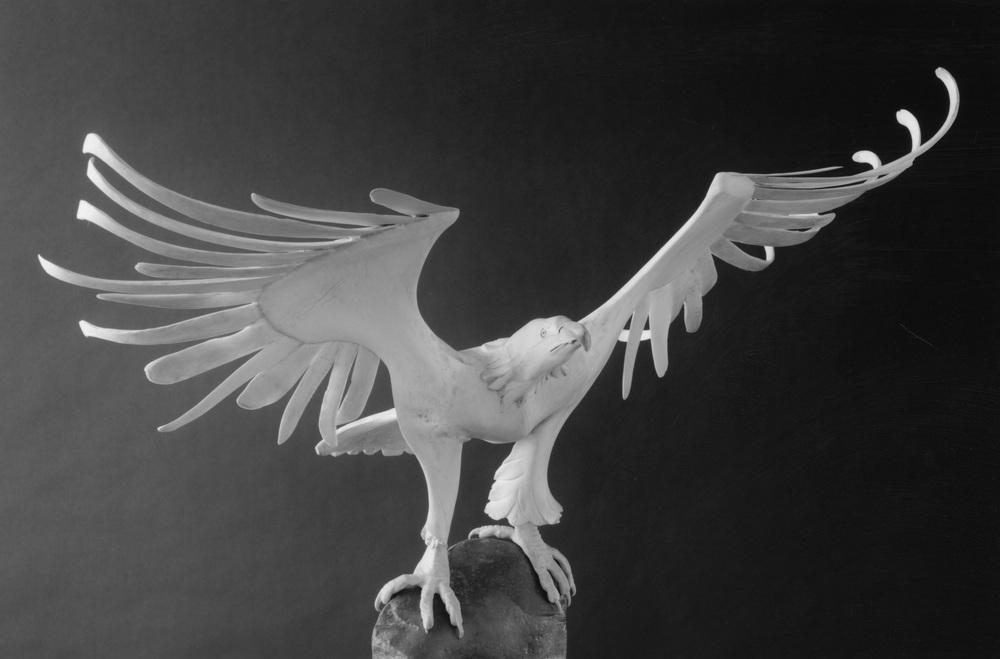 Eagle II - Bone Sculpture by Jerry Hardin