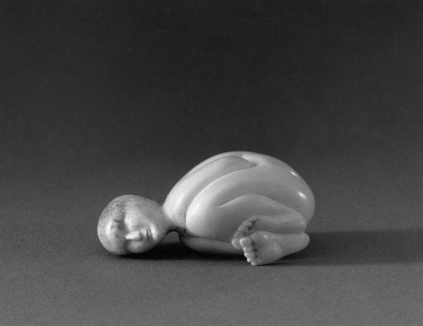 Unnamed (Nude Figure, Child)- Bone Sculpture by Jerry Hardin