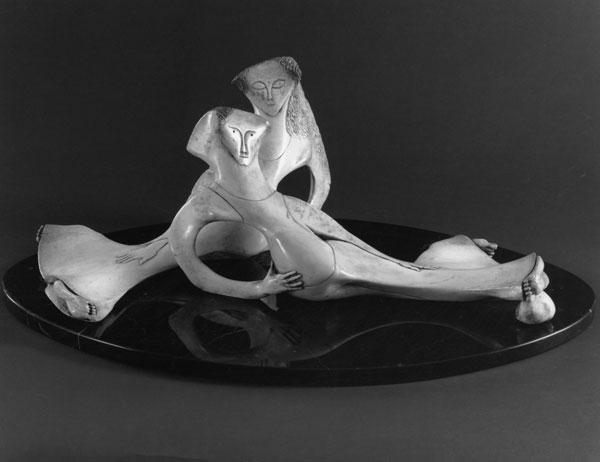 Repose (Couple) - Bone Sculpture by Jerry Hardin