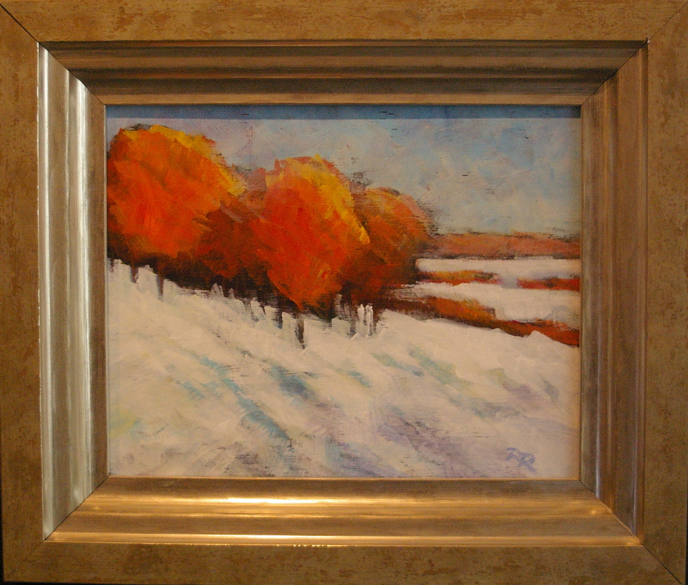 Creamsicle Trees 7 1/2 x 9 1/2 framed $475
